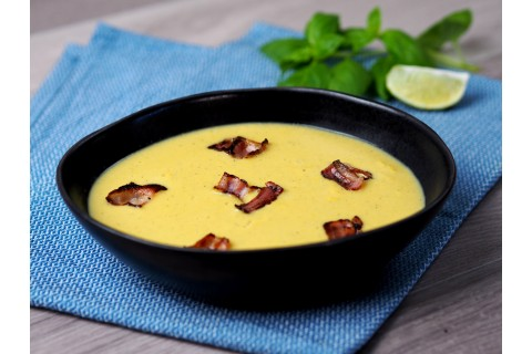 Kukorica-krémleves baconnel (enyhén csípős)