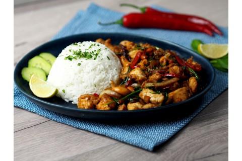Kesudiós csirkemell jázmin rizzsel
